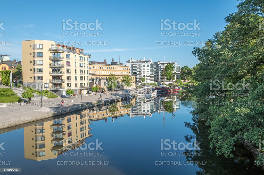 Summer morning in Linkoping, Sweden stock photo