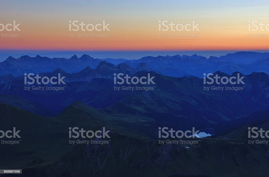 Summer morning in the Swiss Alps stock photo