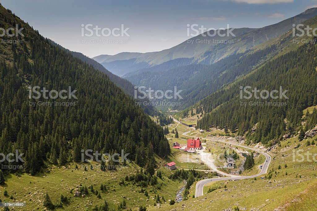 Summer morning landscape of Transfagarasan mountain road stock photo