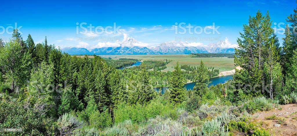 Summer Morning Panorama at Snake River Overlook stock photo