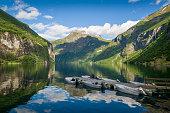 Summer morning sun at Geiranger fjord, Norway