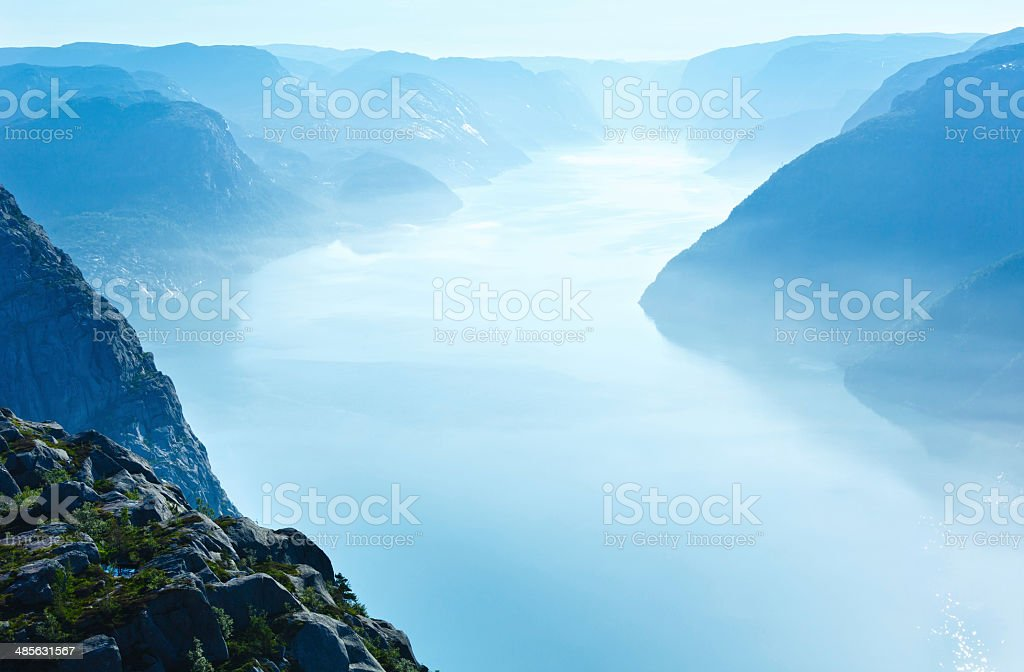 Summer morning view on Lysefjorden (Norway) stock photo