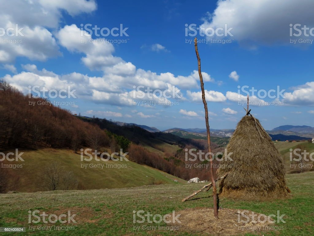 Summer mountain country view stock photo