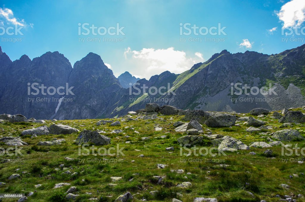 Summer mountain landscape in the High Tatras in Slovakia. stock photo