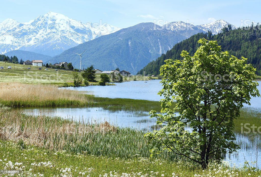 Summer mountain landscape with lake (Italy) royalty-free stock photo