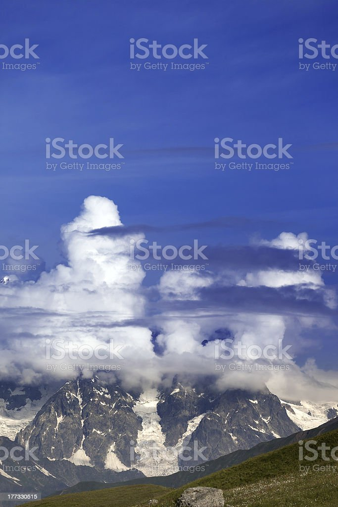 Summer mountains in clouds royalty-free stock photo