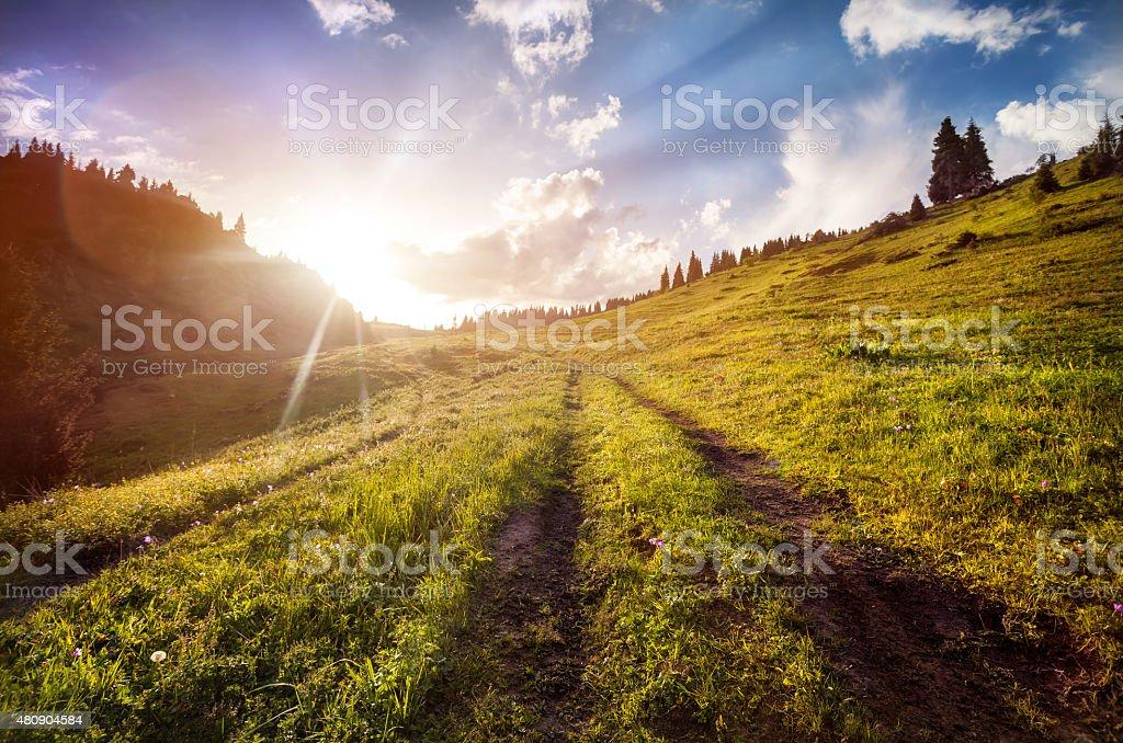 Summer mountains in Kazakhstan stock photo