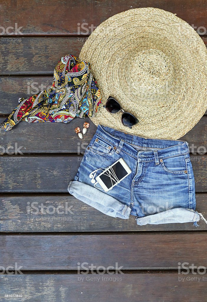 Summer music festival outfit stock photo