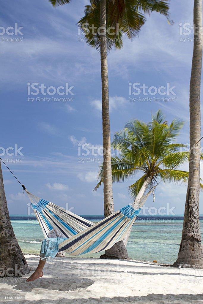 Summer nap in a hammock stock photo