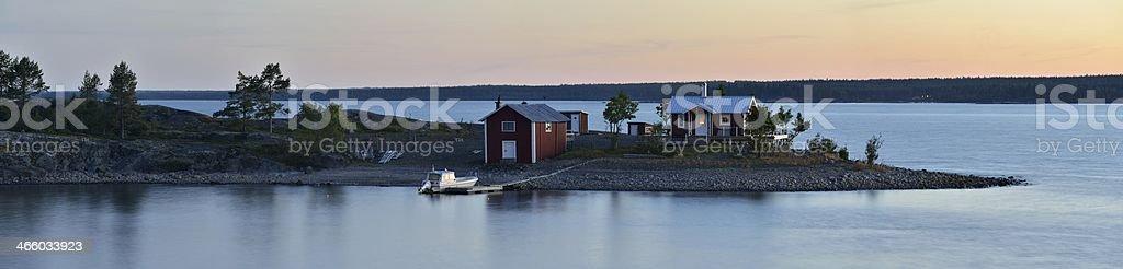 Summer night at Dödmanskär stock photo