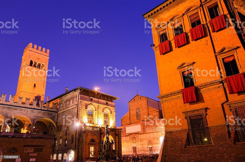 Summer night in Bologna at the Piazza Maggiore stock photo