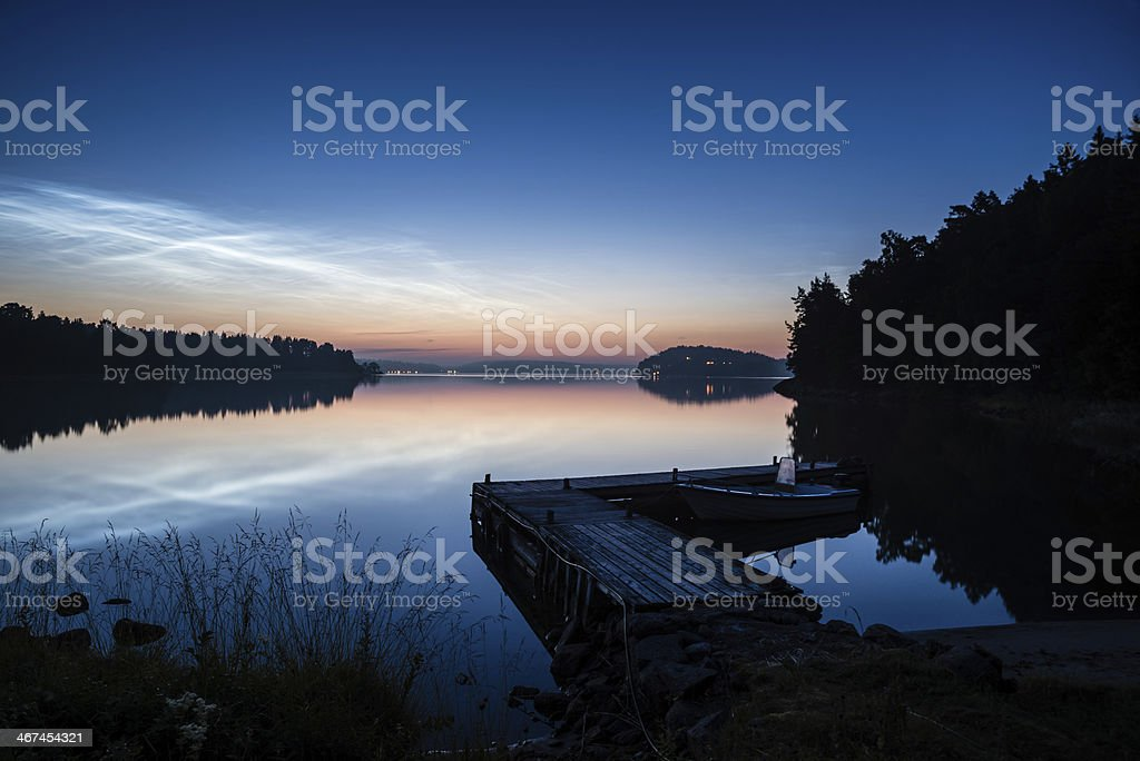 Summer Night in Stockholm Archipelago stock photo