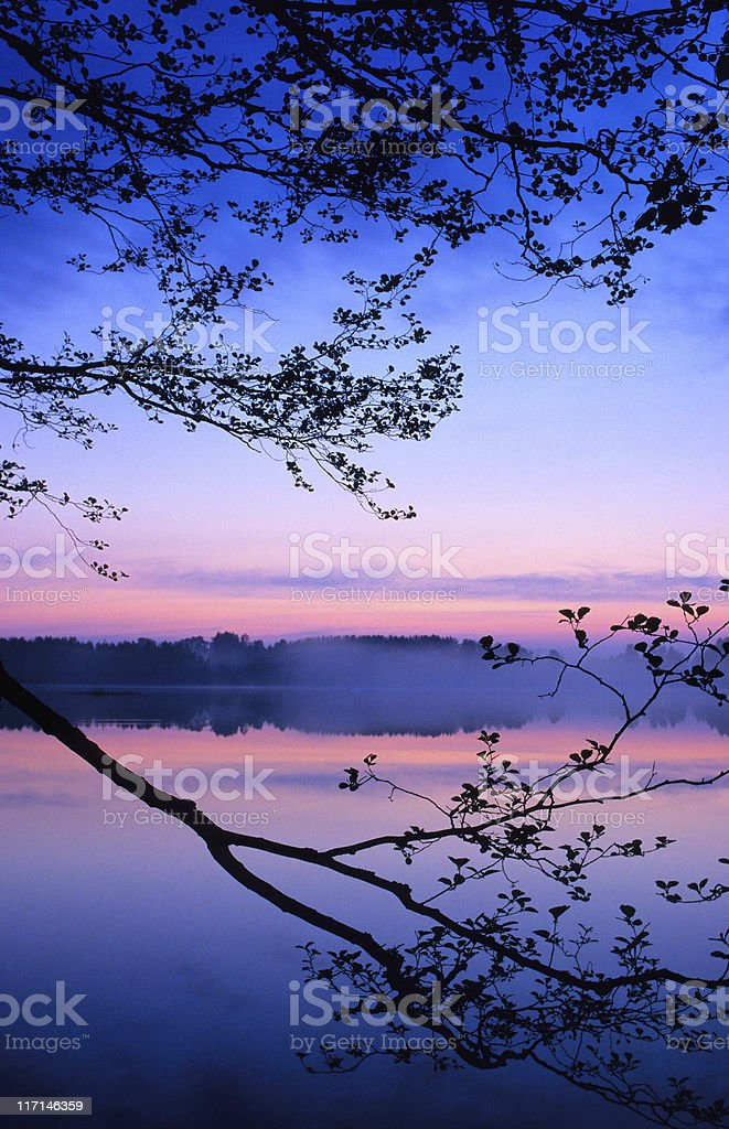 Summer night tranquil scene stock photo