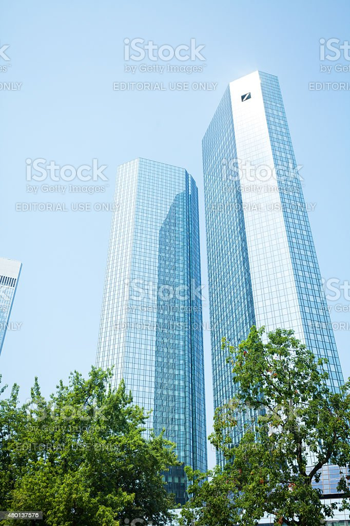 Summer noon sunshine on Deutsche Bank Skyliners stock photo