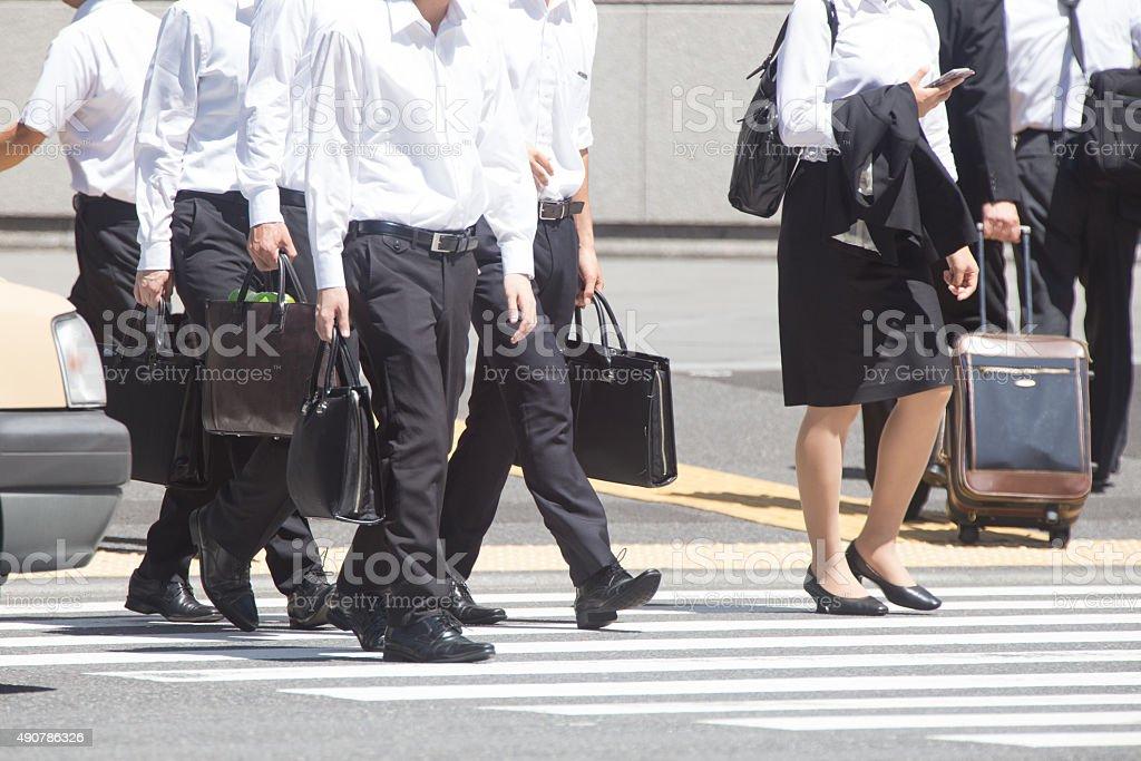 Summer of commuting landscape (businessman) in Japan stock photo