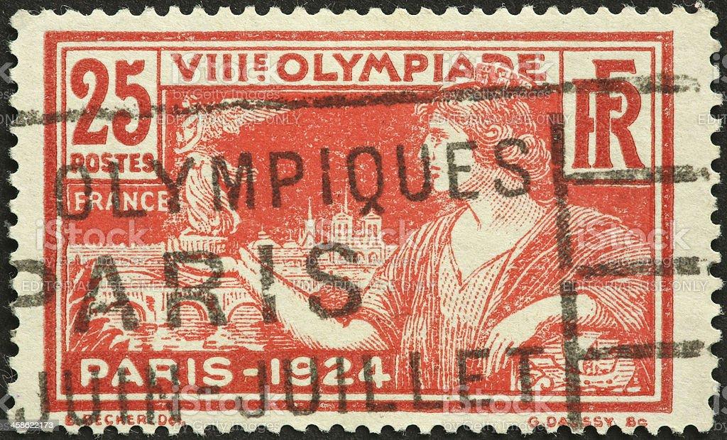 Summer Olympics, Paris 1924 postage stamp stock photo