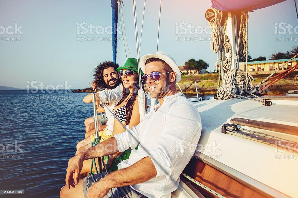 Summer on a yacht stock photo