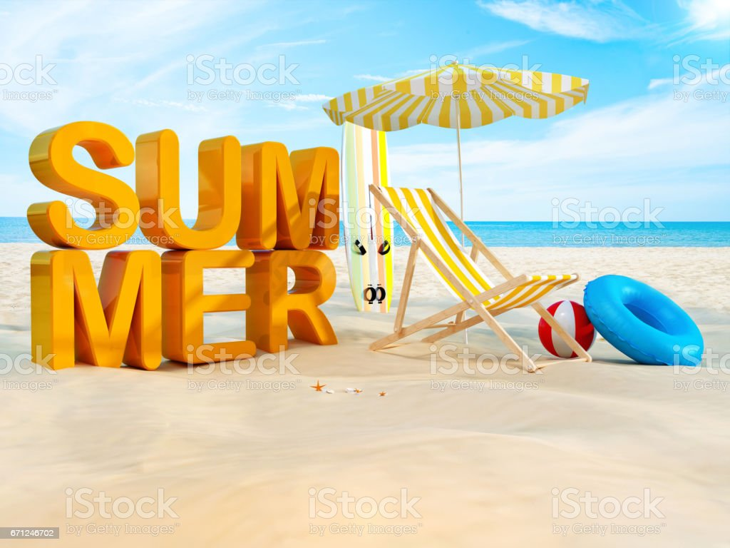 Summer on the Beach - 3D stock photo