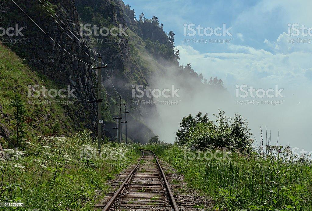 Summer on the Circum-Baikal railroad stock photo