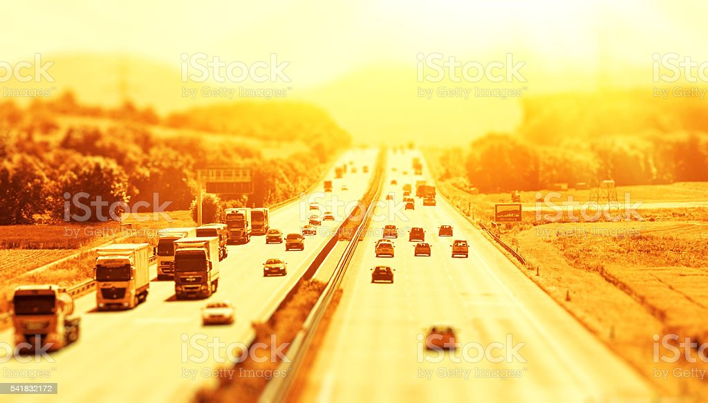 Summer on the freeway stock photo