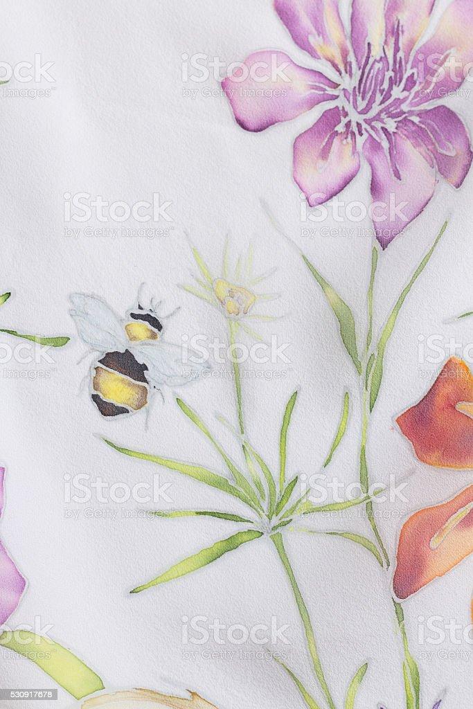Summer painting on silk stock photo