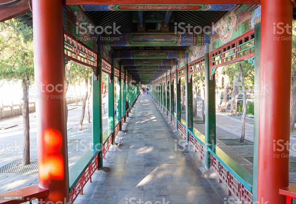 Summer Palace scene- Long Corridor stock photo