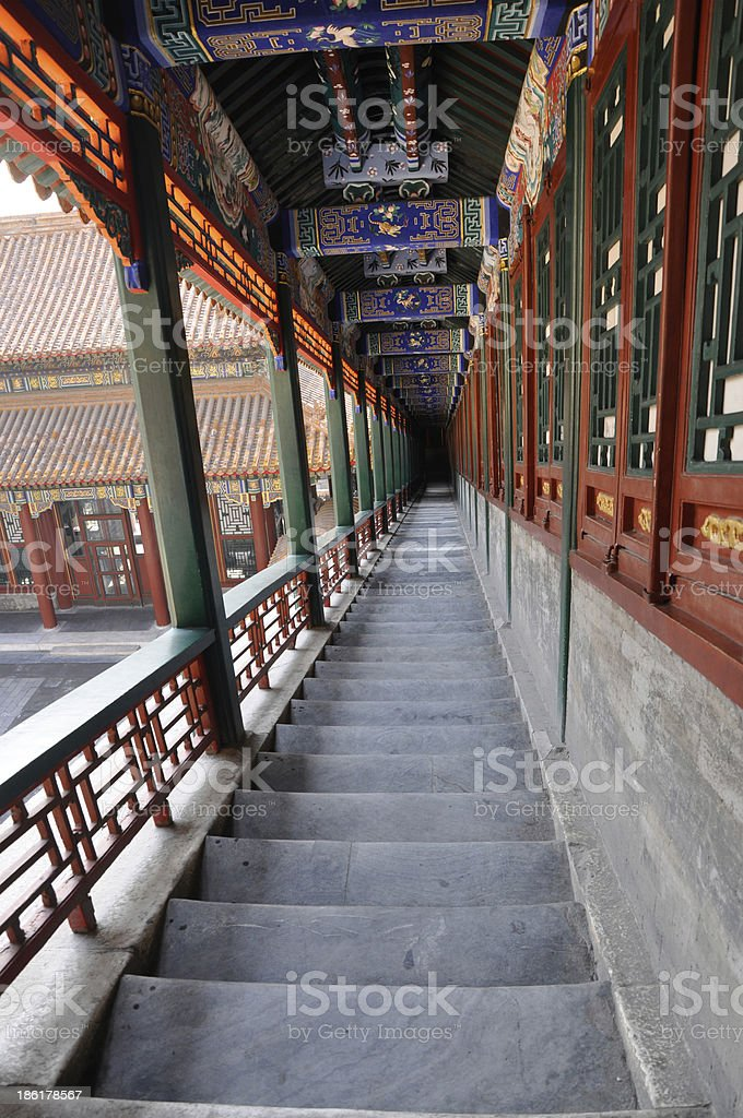 Summer Palace, Stairs in Beijing, China stock photo