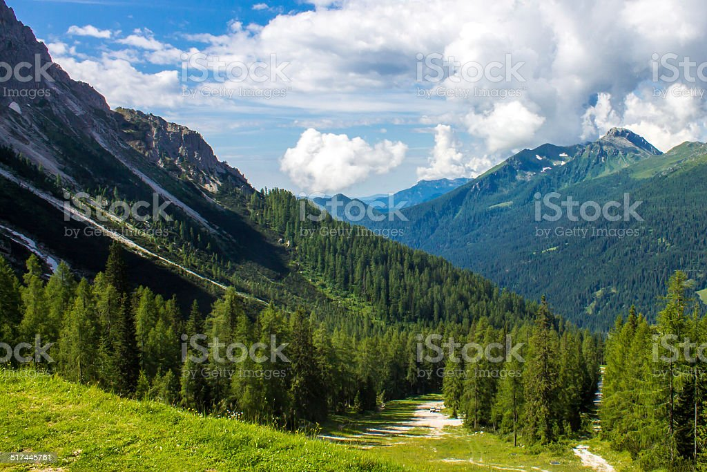 summer panorama from the mountains stock photo
