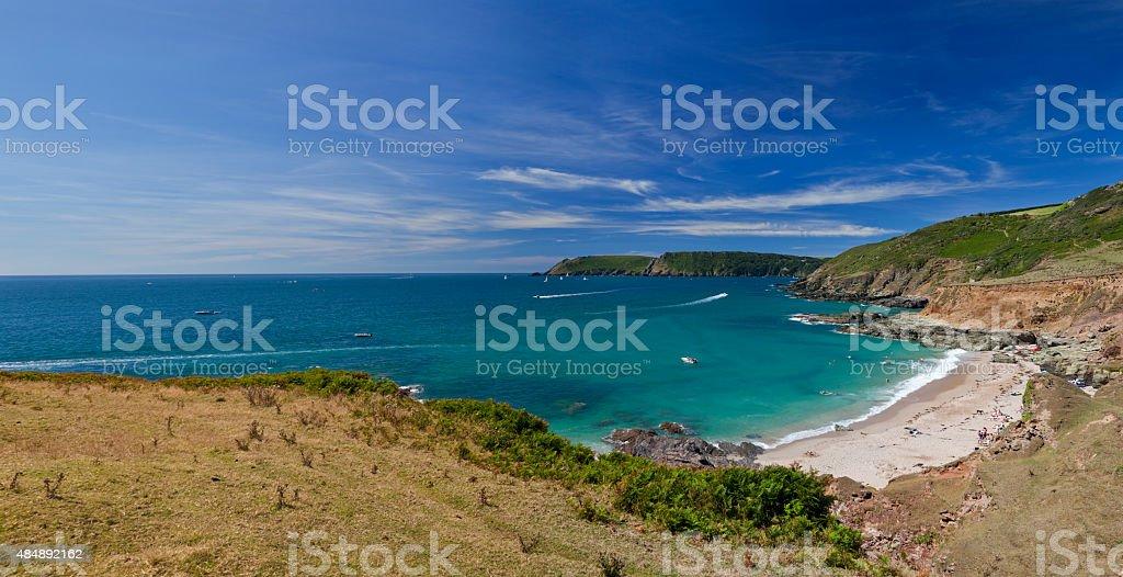 Summer Panorama of Gara Rock Beach stock photo