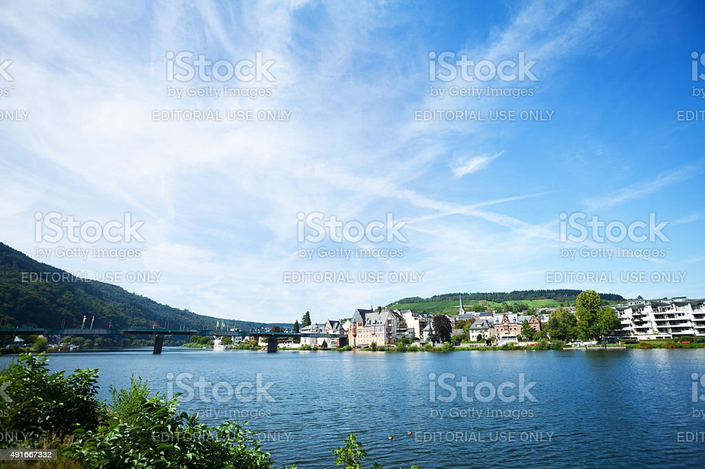 Summer panorama of Mosel and Traben-Trabach stock photo