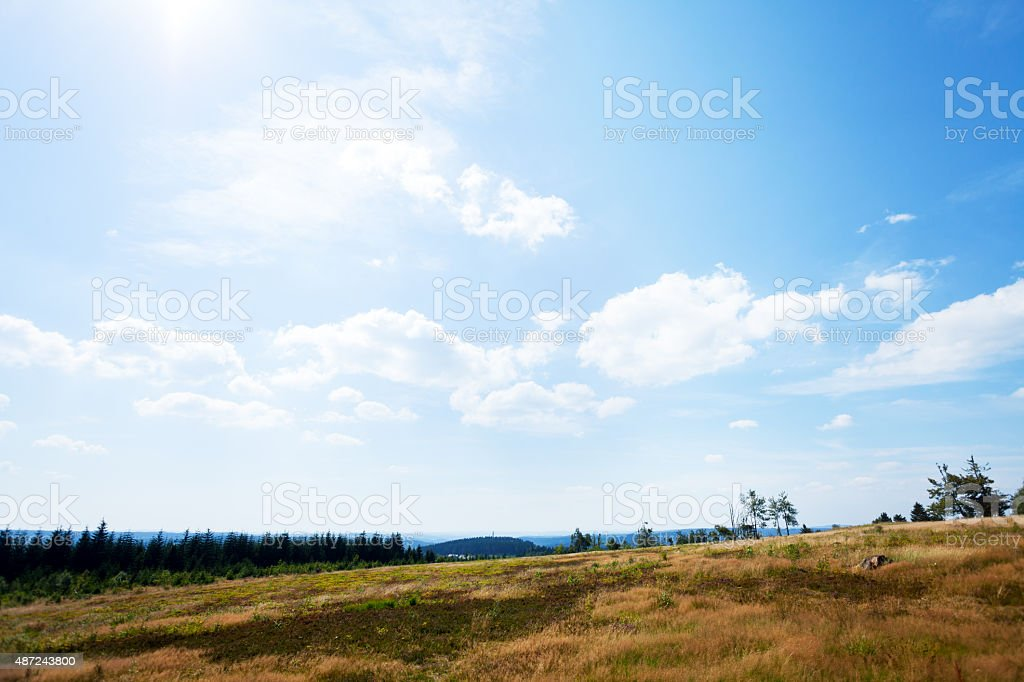 Summer panorama of Sauerland from Kahler Asten stock photo