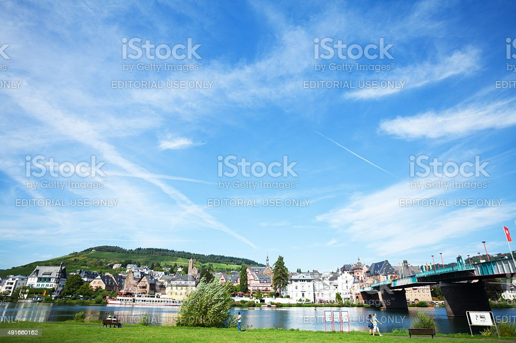 Summer panorama of Traben-Trabach stock photo