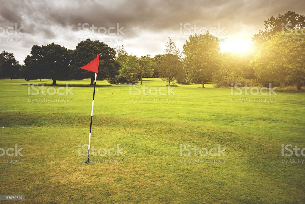 Summer park with golf course stock photo