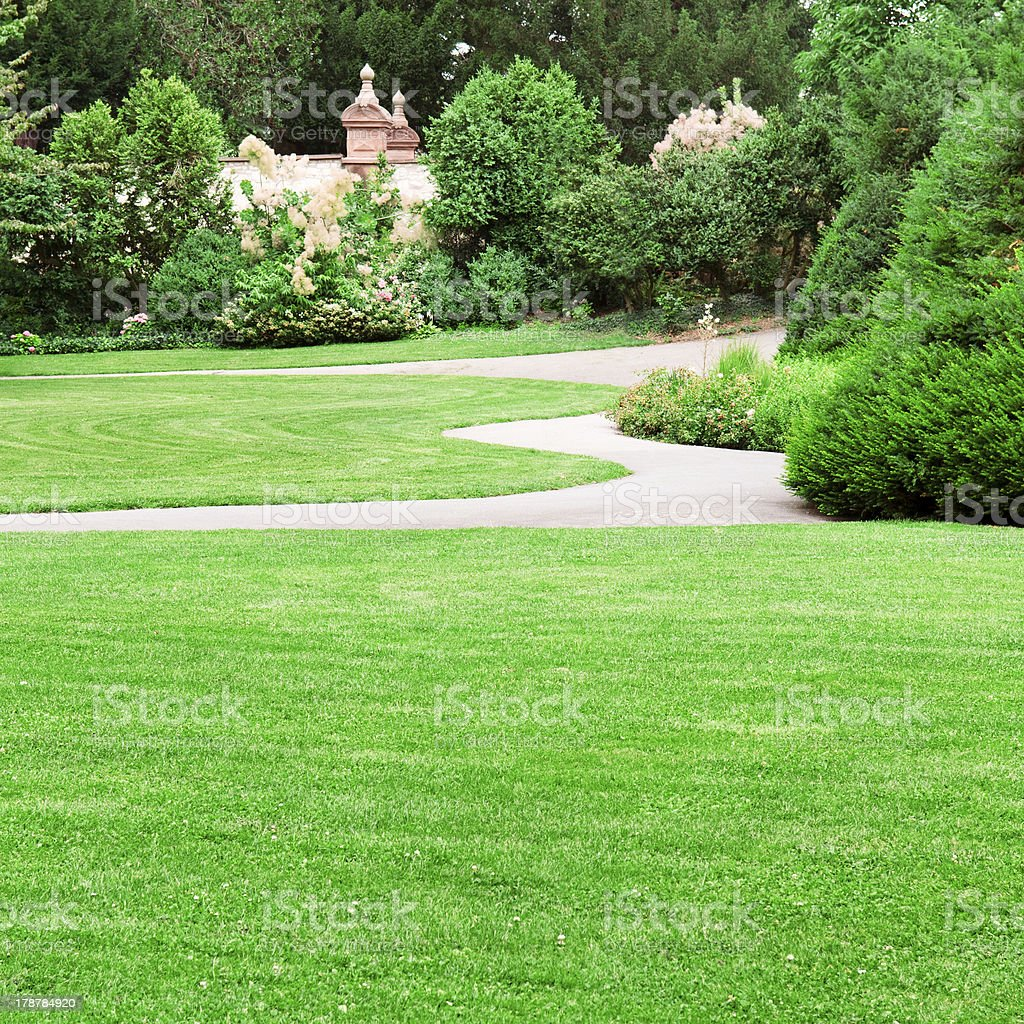 summer park withgreen lawns royalty-free stock photo