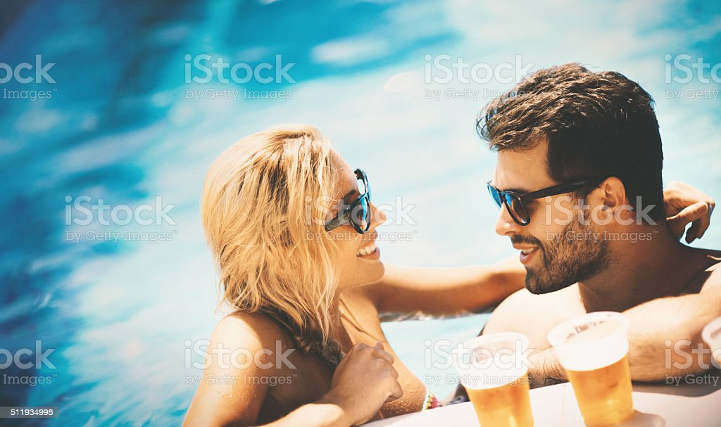 Summer party in a pool. stock photo