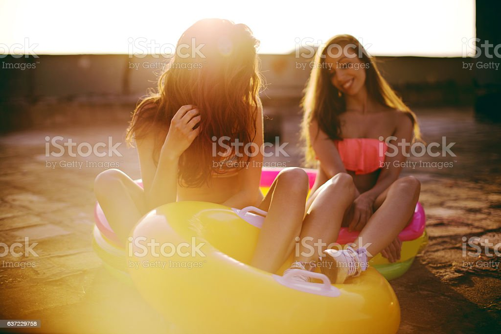 Summer party on the rooftop stock photo