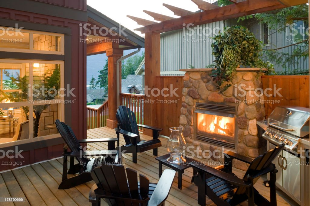 summer patio barbeque house stock photo