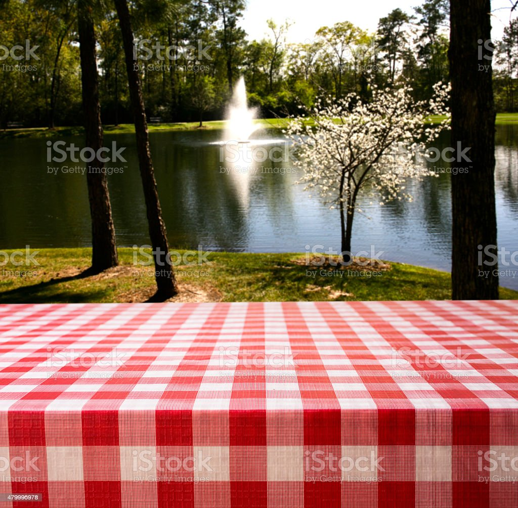 Summer picnic table beside pond with trees. stock photo