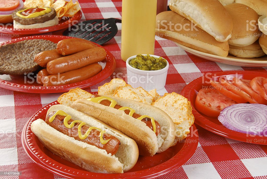 Summer picnic table full of food royalty-free stock photo
