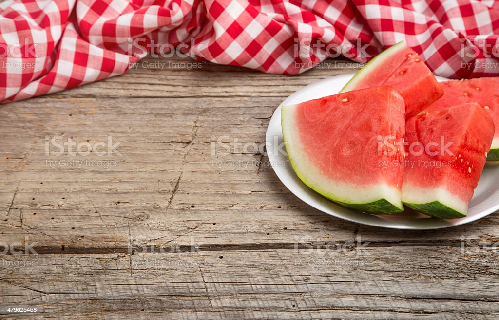 Summer Picnic with Watermelon stock photo
