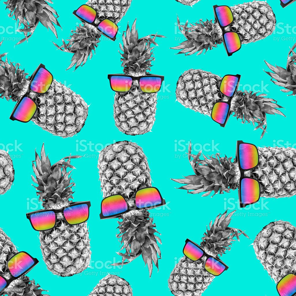 Summer pineapple with sunglasses color background stock photo