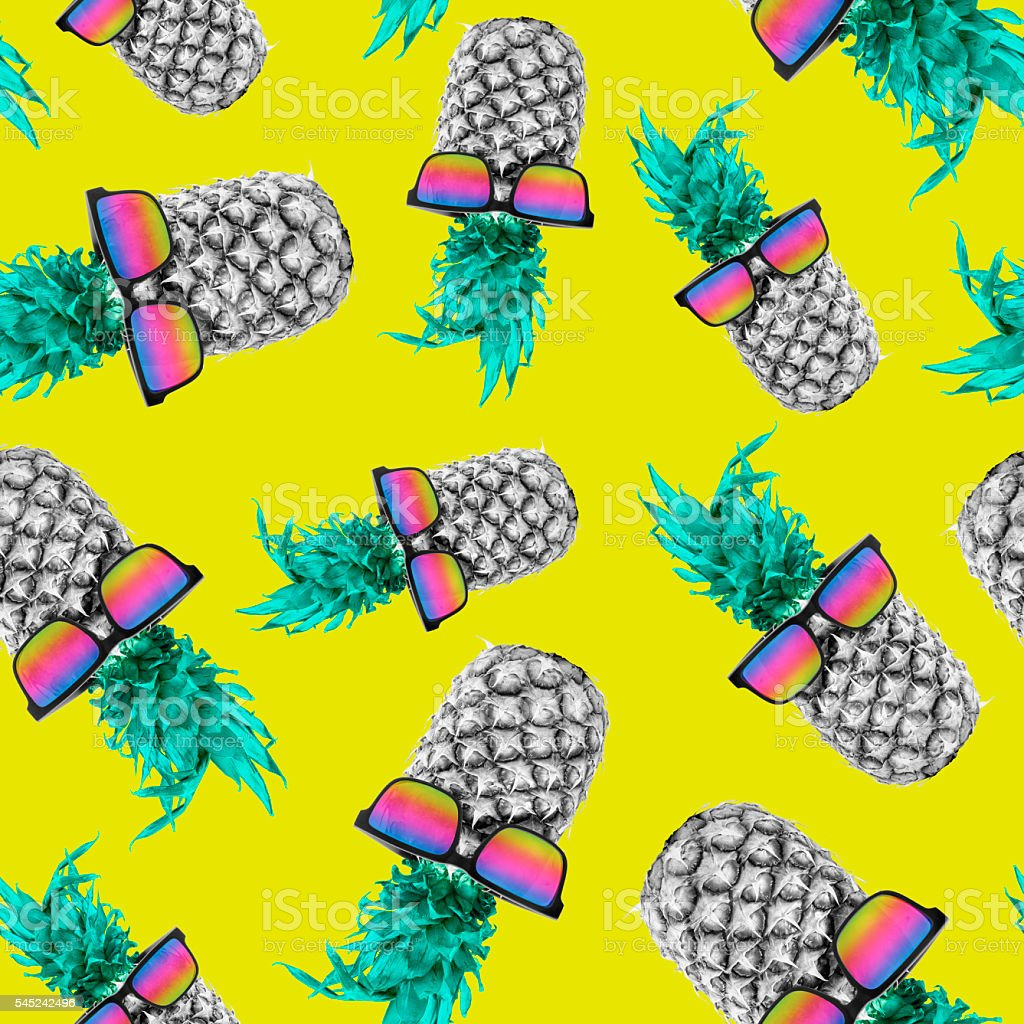Summer pineapple with sunglasses seamless pattern stock photo