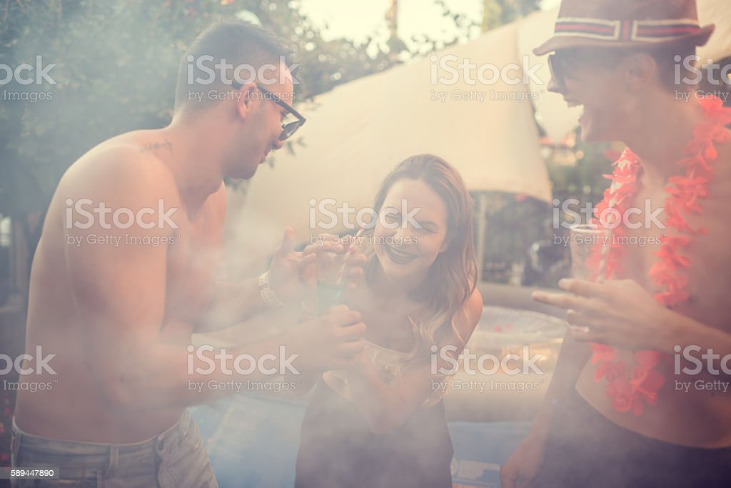 Summer pool party stock photo