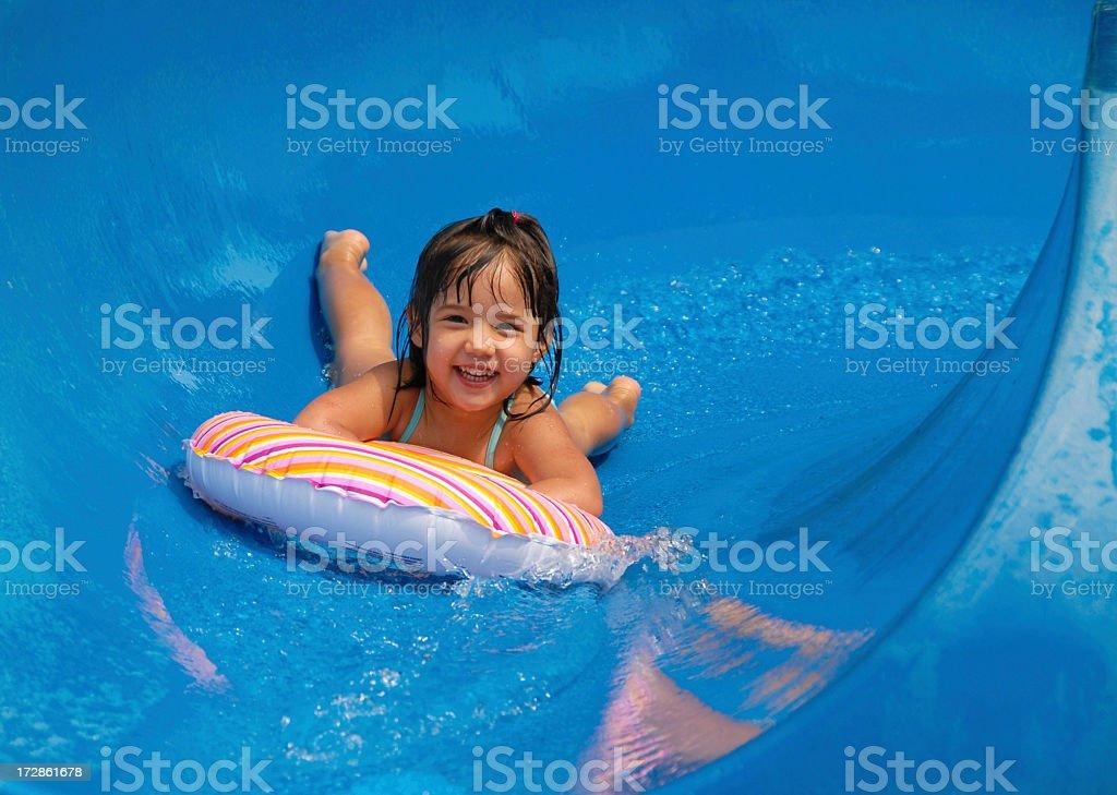Summer Pool Sliding stock photo