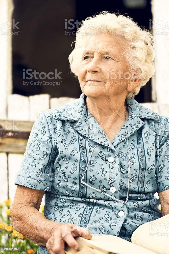 Summer portrait of a lovely grandma stock photo