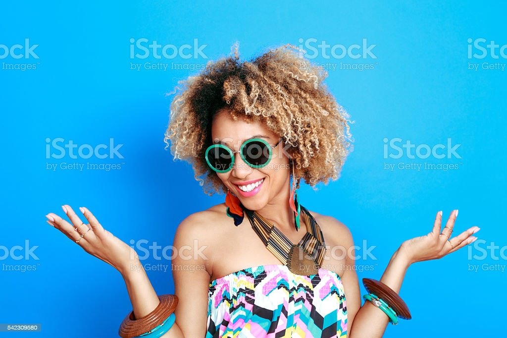 Summer portrait of beautiful afro young woman stock photo