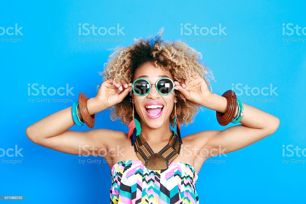 Summer portrait of excited afro american young woman stock photo
