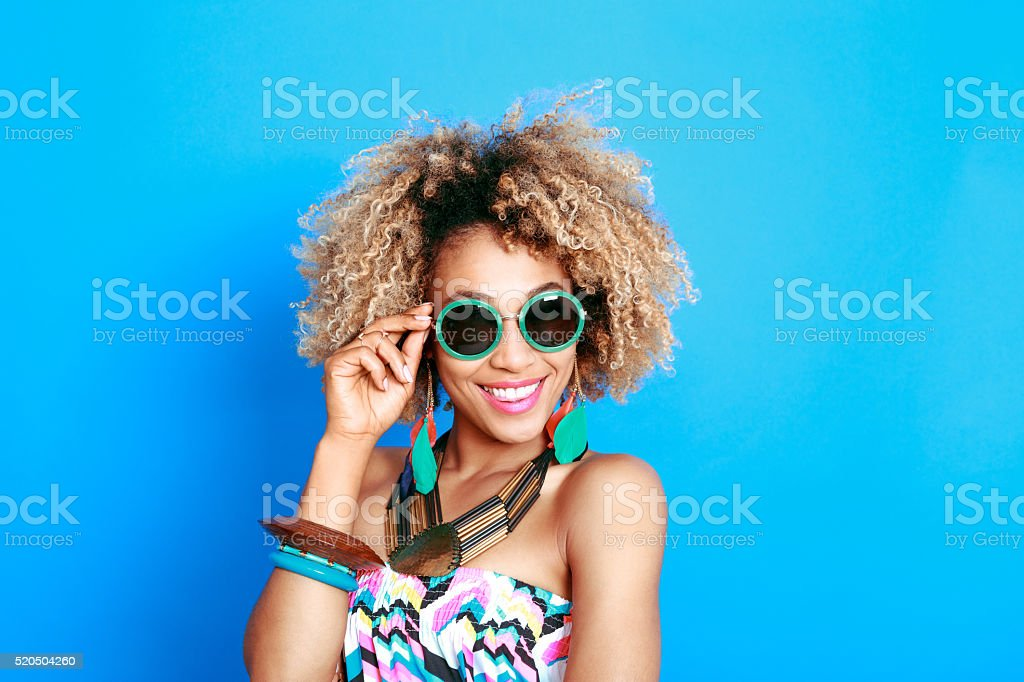 Summer portrait of happy afro american young woman stock photo