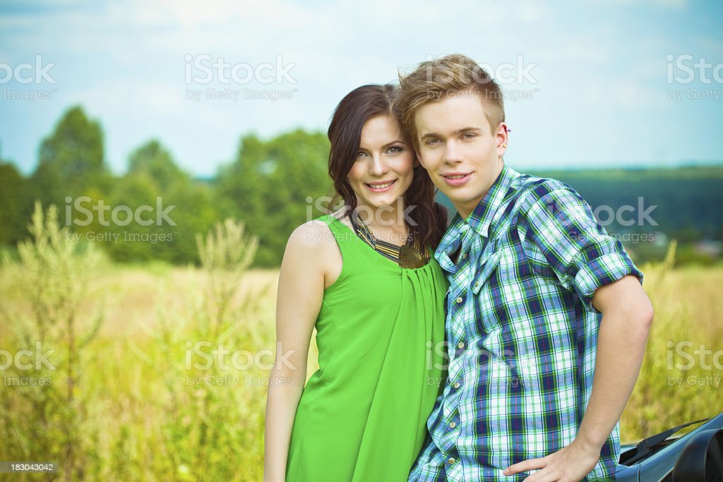Summer portrait of happy young couple royalty-free stock photo