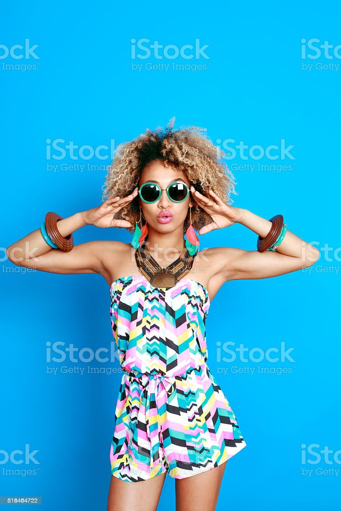 Summer portrait of sensual afro american young woman stock photo